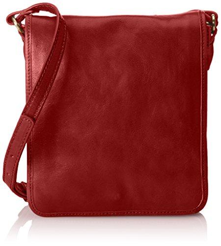 CTM Bolso mochila unisex Backpak elegante. Piel Verdadera. 100 % Fabricado en Italia Rojo (Rosso)