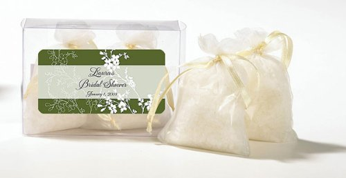- Green Floral Design Personalized Fresh Linen Scented Bath Salts (Set of 20)