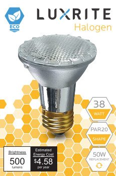 Luxrite LR20613 (4-Pack) 38PAR20/120V 38-Watt Eco Halogen Par20 Light Bulb, Dimmable, Equivalent to 50W Incandescent, 2900K, 500 Lumens, E26 medium base