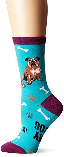 K. Bell Socks Women's Bull Dog Crew, Blue, Shoe Size 4-10