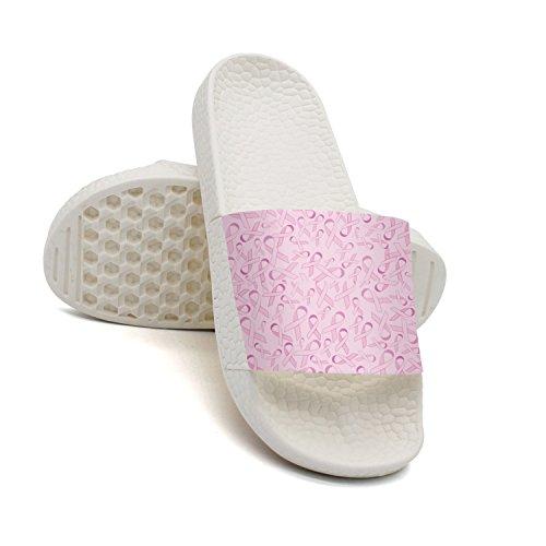 GKEPJYVCK Breast Cancer Awareness Pink Ribbon Womens Flip Flops Low Top Customize White