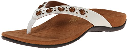 Vionic Women's Rest Floriana Toepost Sandal - Ladies Flip Flops with Concealed Orthotic Support White 9 M US ()