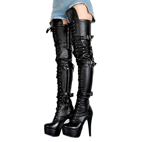 Kolnoo Womens Handcrafted Sexy High Heel Boots Hot Girl Style Fashion Long Booties Black sYAhn