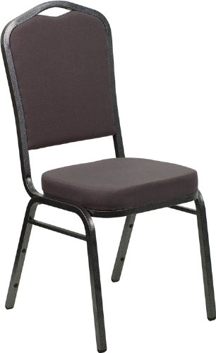 UPC 847254054034, HERCULES Series Crown Back Stacking Banquet Chair with Gray Fabric and 2.5'' Thick Seat - Silver Vein Frame