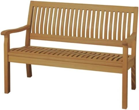 Arboria Outdoor Bench With Lumbar Support 4 Foot Length Premium Eucalyptus Hardwood Easy Assembly 880.3366.7 , Brown