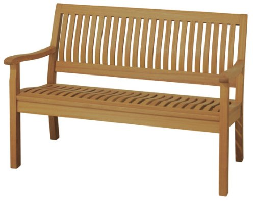 Arboria Outdoor Bench With Lumbar Support 4 Foot Length Premium Eucalyptus Hardwood Easy (4' Classic Wooden Bench)