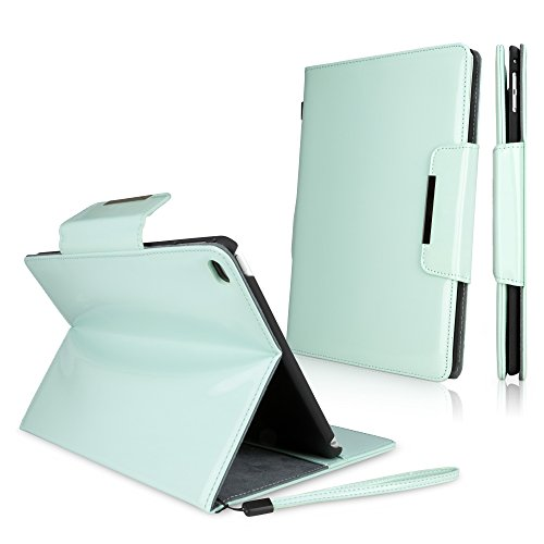 Ipad Wristlet (iPad Air 2 Case, BoxWave [Patent Leather Clutch Case] Vegan Leather Wristlet / Wallet Cover for Apple iPad Air 2 - Mint)