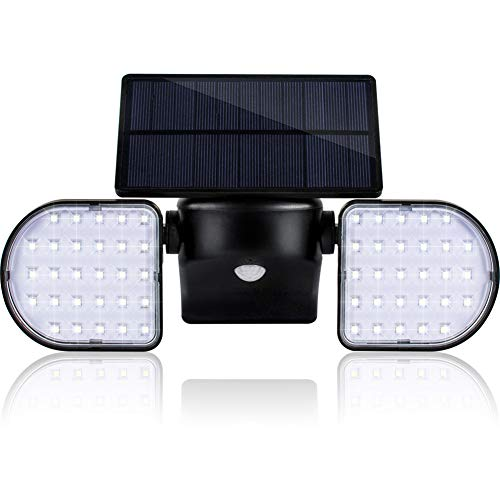- Solar Lights Outdoor, Geeetech 56 LEDs Solar Motion Sensor Lights with Wide Angle Illumination, Adjustable Solar Panel and 2 Adjustable Heads, IP65 Waterproof Outdoor Security Lighting