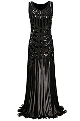 Metme Women's 1920s Beaded Sequin Vintage Classic Long Flapper Gatsby Prom Dress