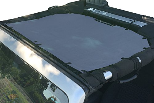 Alien Sunshade Jeep Wrangler Mesh Shade Top Cover with 10 Year Warranty Provides UV Protection for Front Passengers 2-Door or 4-Door JK or JKU (2007-2017) (Steel Blue)
