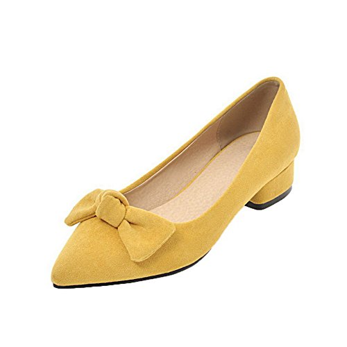 Frosted Women's Closed Low Pull WeenFashion Solid Toe Yellow On Heels Pumps Shoes gnAqF7xS