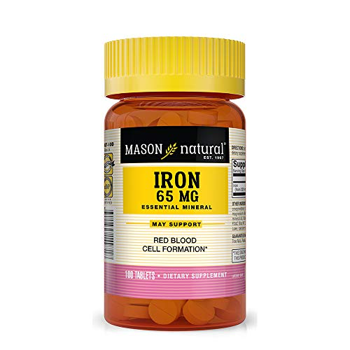 Mason Natural, Iron Supplements, Sugar Free Ferrous Sulfate, 100 Count Bottle (Pack of 3), Dietary Supplement Supports Vascular and Red Blood Cell Health, May Help Prevent Fatigue from Anemia