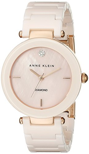 Anne Klein Womens AK1018PMLP Diamond-Accented Dial Light Pink Ceramic Bracelet Watch