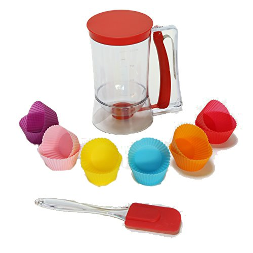 Cupcake pancake batter plastic dispenser for Cupcake, Waffles, Muffin Mix, Crepes, Cake and baking Pastries. plus Spatula, 12 pcs Cupcake Mold and Ebook