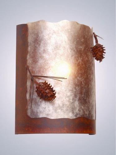 - Steel Partners Lighting 2378-65 Timber Ridge Sconce Ponderosa Pine 100 Wattage, Rust Finish White Mica