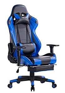 KILLABEE Racing Style Gaming Chair with Footrest - Big and Tall 400lb E-Sports High Back Ergonomic Computer Desk Leather Office Chair with Adjustable Padded Headrest and Lumbar Support (Blue&Black)