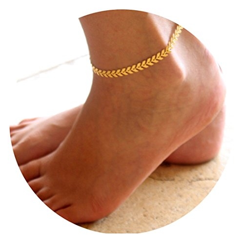 Fettero Anklet Bracelet Handmade Beach Boho Foot Jewelry Gold Heart Chain Leaf Arrow
