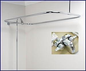 Clawfoot Tub Shower Faucet Rectangular Combo Set Tub Filler Faucets