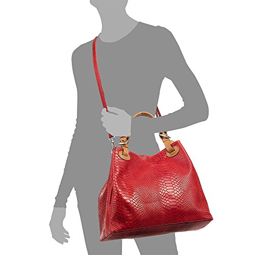 bandolera MADE Bolso hombro cm de genuino ITALIANA geométri0VtRHhCLVXAsa Tote auténtica grabado Bolso ITALY mujer Color PELLE Rojo y IN 33x29x17 NEGRO correa VERA cuero piel Leather O6wqvOxr