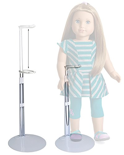 BANBERRY DESIGNS Doll Stands - Set of 2 White Metal and Vinyl Holders - Each One Expands Approx. 10