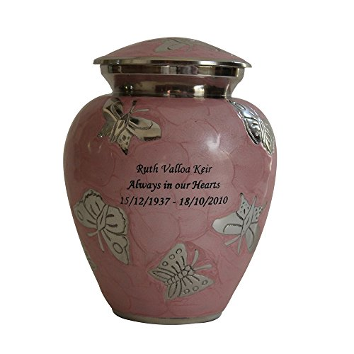 NWA CUSTOM PINK BUTTERFLY FUNERAL CREMATION URN, PET OR HUMAN URNS-MEDIUM PERSONALIZED URN]()