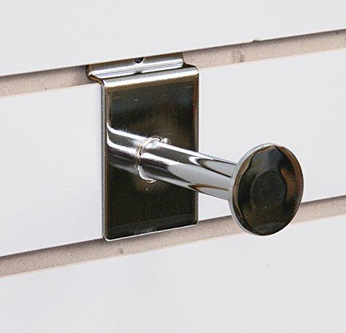 Case of 100 Retail Slatwall Single Chrome Garment Hook 3 inch