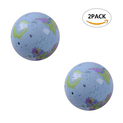 2 PACK DLonline Large Inflatable Beach Ball Globes,16 inch. (16in Inflatable)