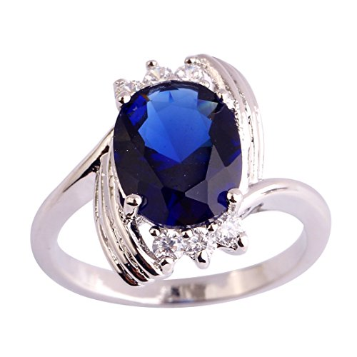(PAKULA Women's Charming Oval Cut Sapphire Quartz Engagement CZ Ring)