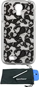 For Samsung Galaxy S4 i9500 Fabric Butterflies Design Hard Cover Case with Stylus Pen and ApexGears (TM) Phone Bag (Black Butterflies)