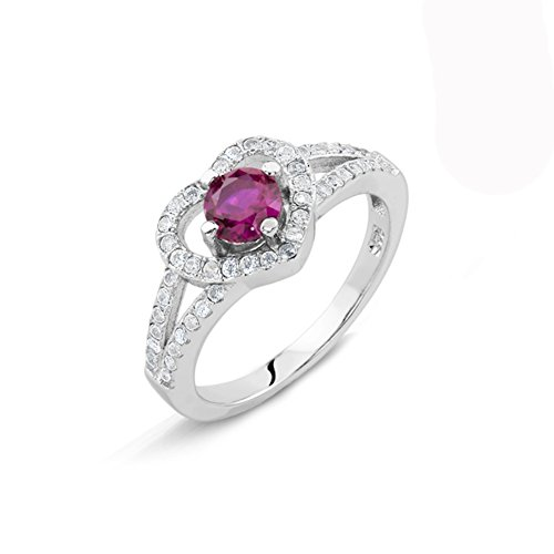 New 925 Silver Heart Ring with .46 Carat Garnet and White Cz Stones (6) (0.46 Ct Heart)