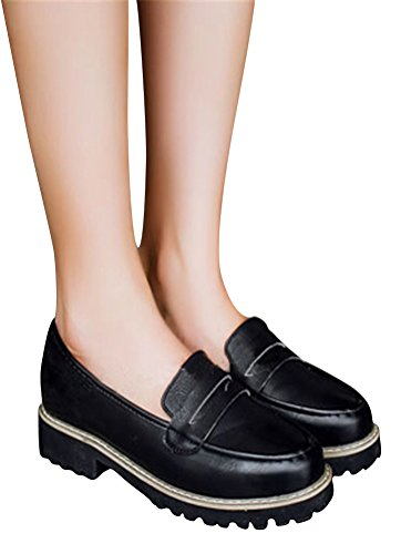Oxford Skor Kvinnor Mid Häl, Casual Skoluniform Dress Shoe Arbets Använda Anti-sladd Svart