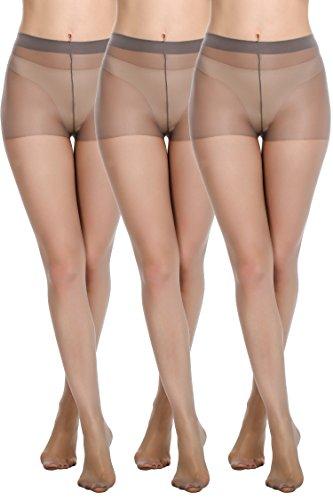 Avidlove Womens Socks Hosiery Tights Control Top Sheer 12 Denier Pantyhose 3 Packs Dark Gray XL by Avidlove