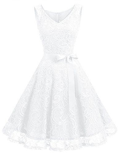 Dressystar Women Floral Lace Bridesmaid Party Dress Short Prom Dress V Neck L White