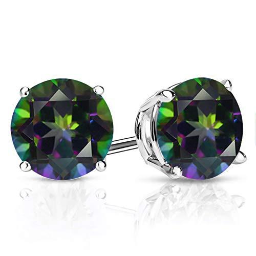 Gem Stone King 925 Sterling Silver Mystic Topaz Women's Green Stud Earrings (3.00 Cttw, 7MM Round)