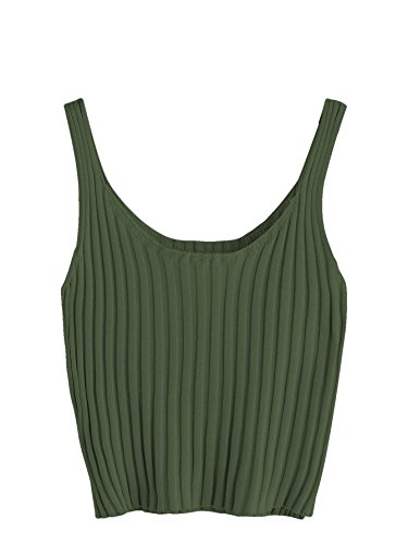 SweatyRocks Women's Ribbed Knit Crop Tank Top Spaghetti Strap Camisole Vest Tops (One Size, Army Green)