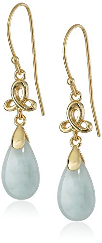 Earring Ring Jade (18k Yellow Gold Plated Sterling Silver Green Jade Pear Cut 14x8mm Dangle Earrings)