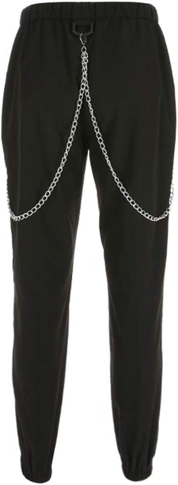 X Xya Moda Mujer Pantalones De Carga De Impresion De Cintura Alta Pantalones Conicos Cadena Harem Pantalones Pantalones Casuales De Hip Hop A S Pantalones Ropa