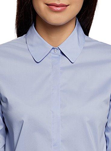 oodji Ultra Mujer Camisa Ancha con Espalda Larga Azul (7000N)