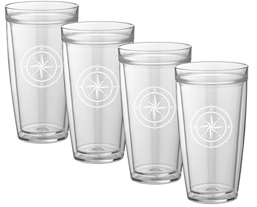 Kraftware Kasualware Collection Compass Point Doublewall Drinkware, 22 Ounce - Set of 4 (Tall Plastic Tumbler)