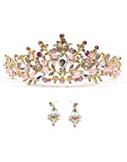 Zapire Rhinestone Women Bridal Tiaras Wedding Crowns with Earrings Princess Headbands for Girl Hair Accessories