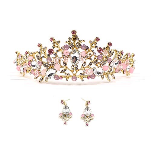 Zapire Rhinestone Women Bridal Tiaras Wedding Crowns with Earrings Princess Headbands for Girl Hair Accessories]()
