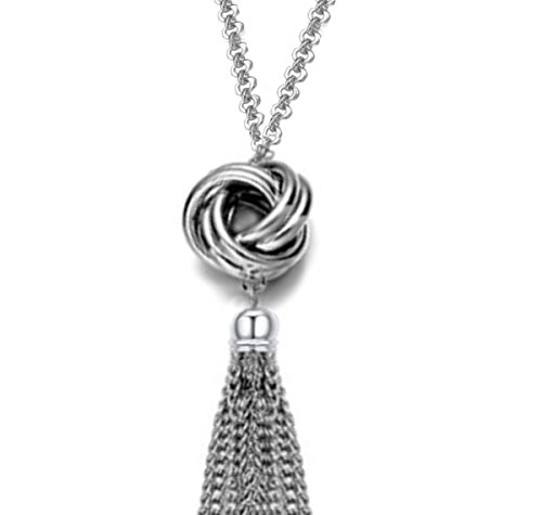 Long Tassel Necklace Silver To