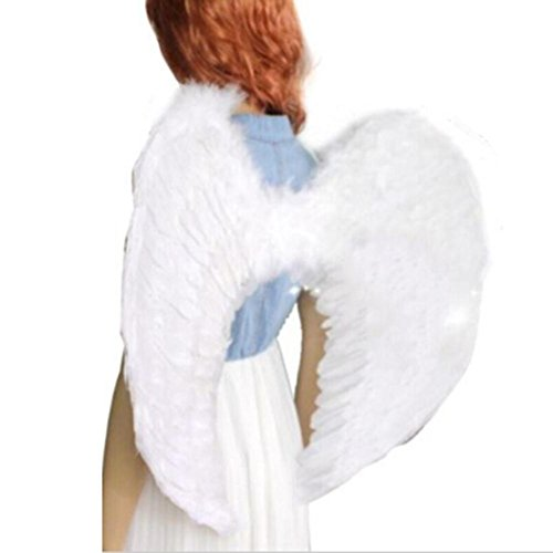 Angel Feather Wings New Kids Fairy Nativity Adult Costume Fancy Dress Up Costume White Feather for Party, Leisure Time (Small) - Dress Up Feather Wings For Kids