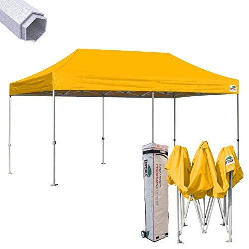 Eurmax Premium 10 x 20 EZ Pop up Canopy Tent Wedding Party Canopies Gazebo Shade Shelter Commercial Grade Bonus Wheeled Bag (Gold)