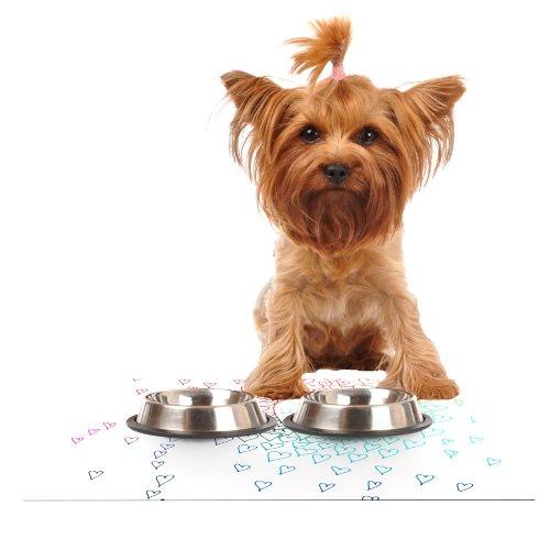 Kess InHouse Monika Strigel Rainbow Hearts  Feeding Mat for Pet Bowl, 24 by 15-Inch