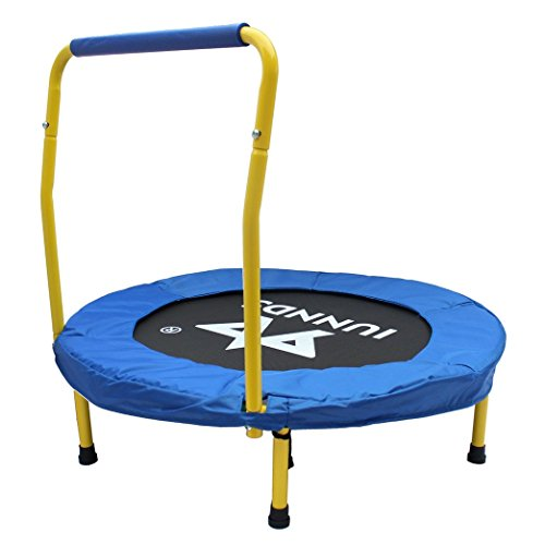 """KLB Sport 36"""" Mini Foldable Trampoline with Handrail for Kids Ages 3 to 8 (Blue & Yellow)"""