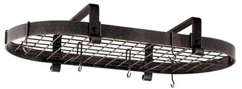 Enclume Premier Low-Ceiling Oval Pot Rack, Hammered Steel