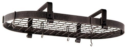 Enclume Premier Low-Ceiling Oval Pot Rack, Hammered Steel by Enclume