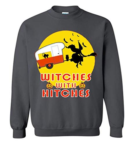 Witches with Hitches Funny Halooween Gift Idea Sweatshirt Charcoal -