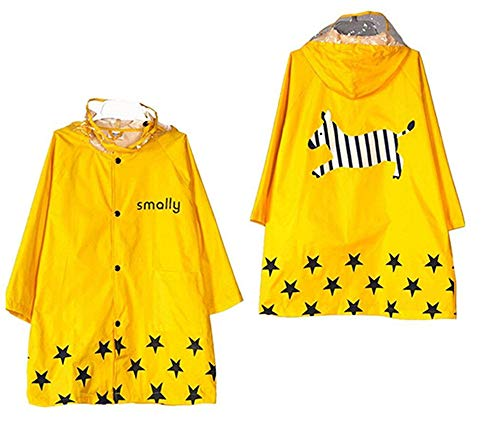 TopRen Kids Rain Coat, Cartoon Waterproof Children's Raincoat Lightweight for Ages 3-12 Years Old Girls and Boys 4 Size (XL, Yellow)